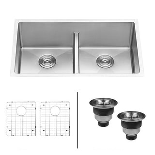 "Ruvati RVH7411  Gravena 32"" Undermount Double Basin 16 Gauge Stainless Steel Kitchen Sink with 2 Basin Racks and 2 Basket"