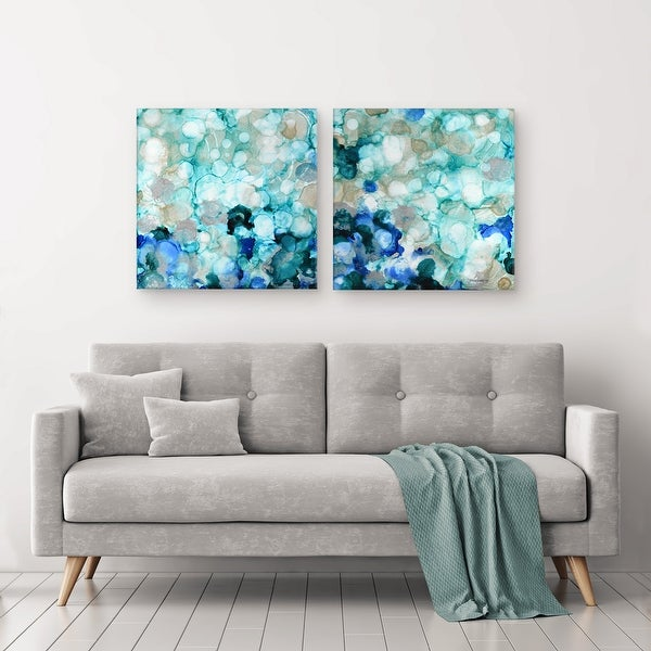 'Mermaid Pearls I/II' 2-Piece Wrapped Canvas Wall Art Set. Opens flyout.