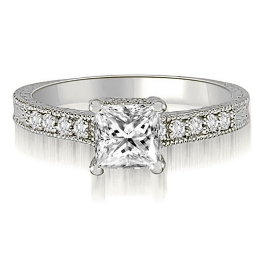 0.90 cttw. 14K White Gold Milgrain Princess And Round Diamond Engagement Ring