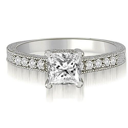 1.15 cttw. 14K White Gold Milgrain Princess And Round Diamond Engagement Ring