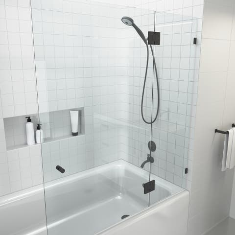 "Glass Warehouse 58.25"" x 48.5"" Frameless Shower Bath Door - Glass Hinge"
