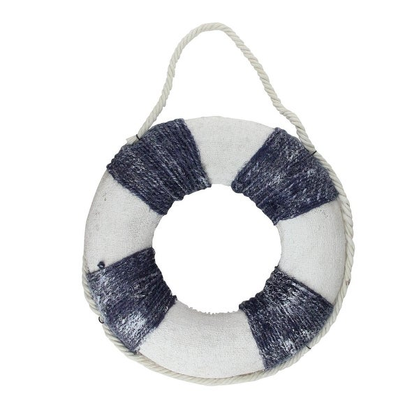 "12"" Blue and White Nautical Swim Ring Wall Hanging Decor"