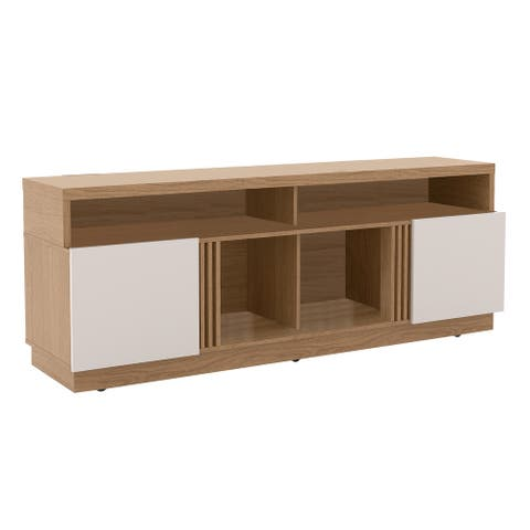 71 Inch Wooden Entertainment TV Stand with 4 Open Shelves, White and Brown
