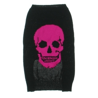 Skull Cashmere Dog Sweater Graphic Ribbed Trim