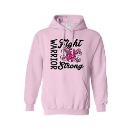 """Unisex Pullover Hoodie """"Warriors Fight Strong"""" Breast Cancer Awareness"""