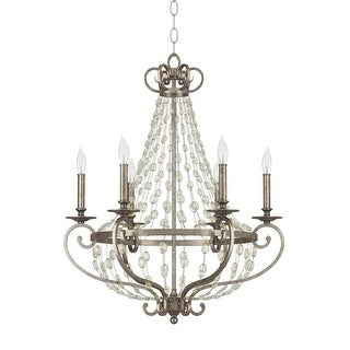 """Park Harbor PHHL6216 Rosalind 26"""" Wide 6 Light Single Tier Empire Style Chandelier with Strung Glass Accents"""