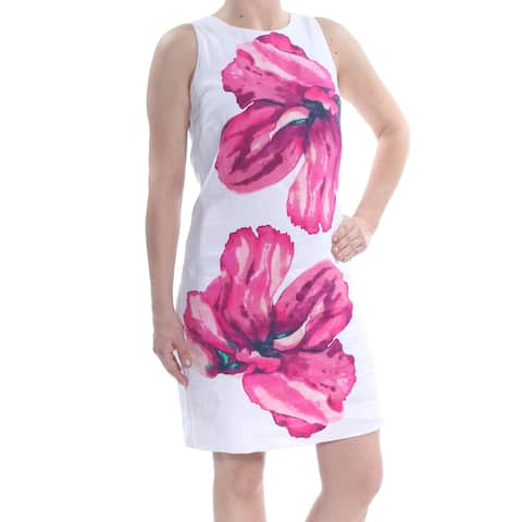 TOMMY BAHAMA Womens White Floral Print Sleeveless Jewel Neck Above The Knee Sheath Party Dress Size: 2XS