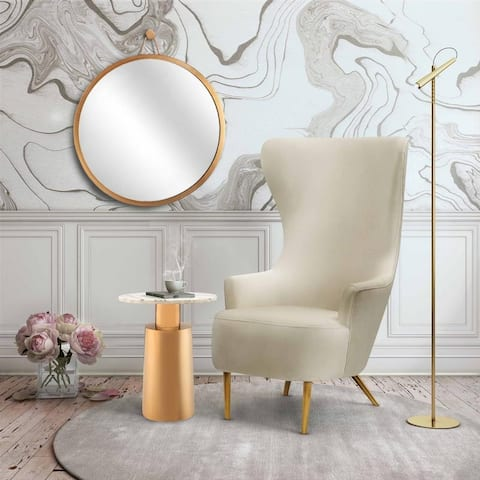 Inspire Me, Home Decor Julia Cream Wingback Velvet Chair