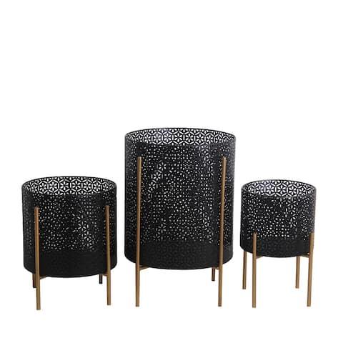 Set of 3 Black/Gold Metal Planters