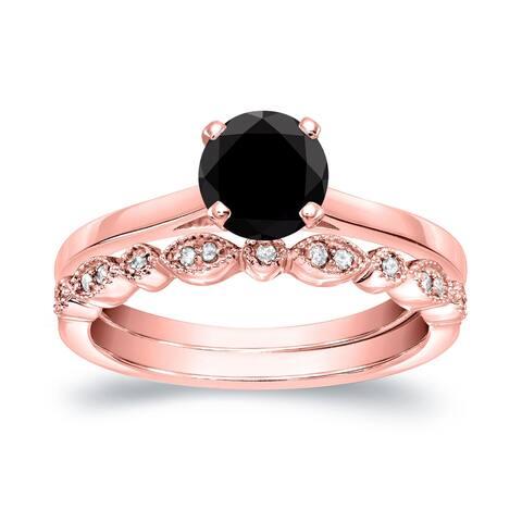 Auriya 14k Gold 3/4ctw Vintage Solitaire Black Diamond Engagement Ring Set