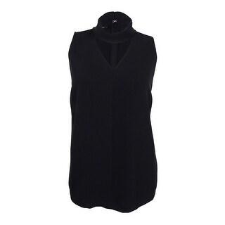 Alfani Women's Sleeveless Cutout Collar Top (Deep Black, 16) - 16