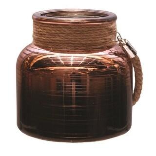"4.75"" Copper Brown Circle Design Decorative Pillar Candle Holder Lantern with Handle"