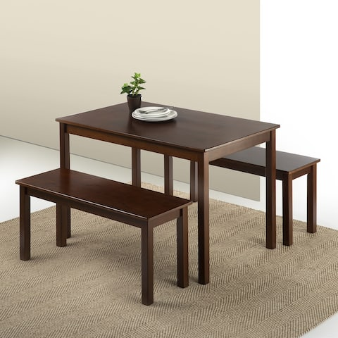 Priage by ZINUS Espresso Wood Dining Table with 2 Benches, 3 Piece Dining Set