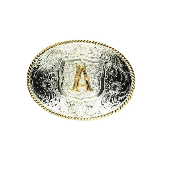 Crumrine Western Belt Buckle Initial Rope Silver Gold - 3 x 4 1/4