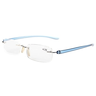 e0e7854164cf Shop Eyekepper Readers Small Lenes Rimless Reading Glasses Blue Arm +1.25 -  Free Shipping On Orders Over  45 - Overstock - 15943017