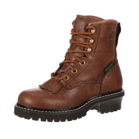 "Georgia Boot Work Boys 5"" Waterproof Logger Leather Brown"