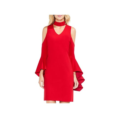 Vince Camuto Womens Party Dress Cold Shoulder Choker
