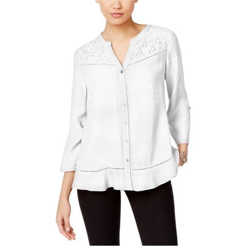 NY Collection Womens Lace Trim Button Up Shirt, white, Small