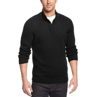 Alfani Black Label Regular Fit Snap Mock Neck Sweater Black Small - S