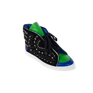 Roberto Cavalli Black & Blue Leather Angel Wing Sneakers