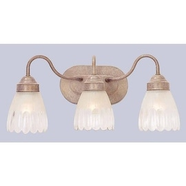 """Volume Lighting V1613 3 Light 18.5"""" Width Bathroom Vanity Light with Clear / Frosted Pattern Glass Bell Shade"""