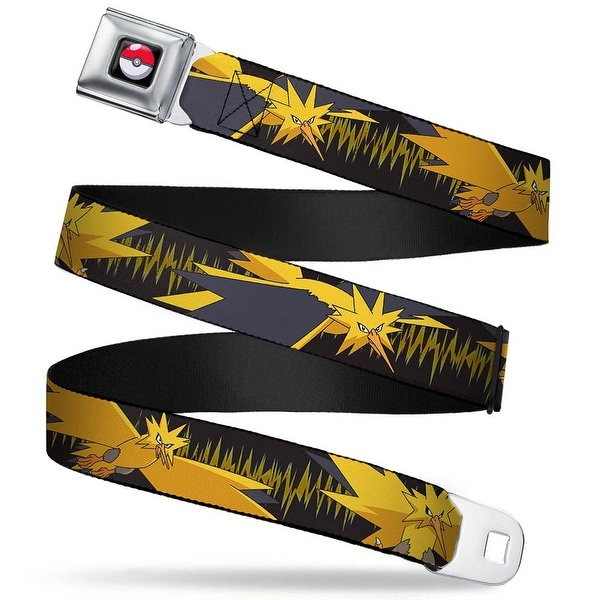 Pok Ball Full Color Black Zapdos 3 Poses Electrical Charge Black Yellows Seatbelt Belt