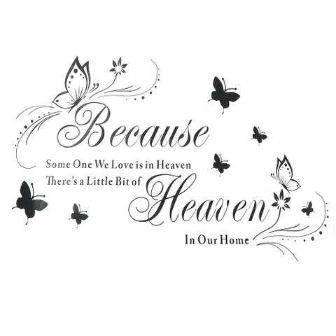 """Living Room PVC Butterfly Print Removable Wall Sticker Decal Mural - Black,White - 26.8"""" x 18.5""""(L*W)"""