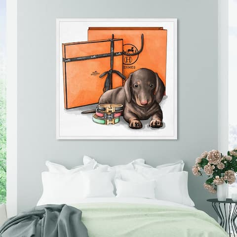Oliver Gal 'Fancy Doxie' Animals Wall Art Framed Print Dogs and Puppies - Brown, Orange