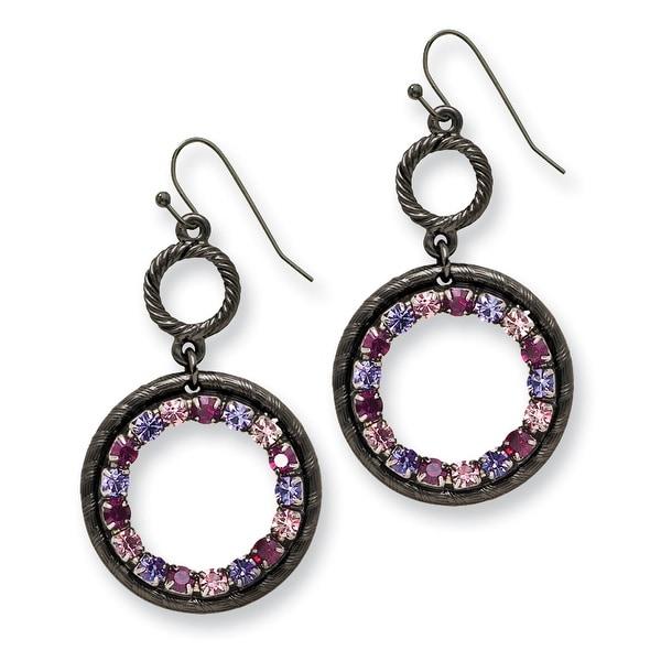 Black IP Pink Crystal Fireball Leverback Earrings