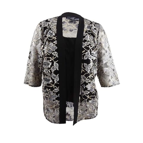 Alex Evenings Women's Plus Size Embroidered Jacket & Shell - Black Multi