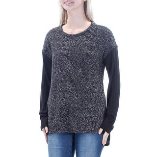 Womens Black Long Sleeve Jewel Neck Hi-Lo Sweater Size S