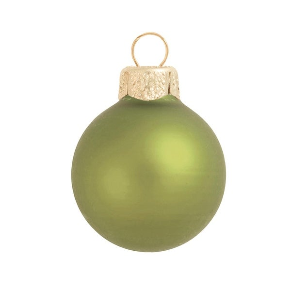 "28ct Matte Light Green Glass Ball Christmas Ornaments 2"" (50mm)"