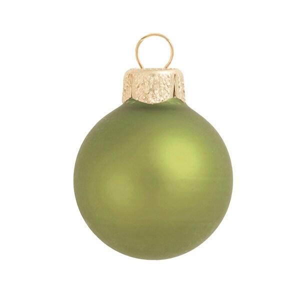"""40ct Matte Light Green Glass Ball Christmas Ornaments 1.25"""" (30mm)"""