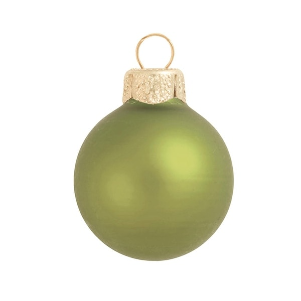 "8ct Matte Light Green Glass Ball Christmas Ornaments 3.25"" (80mm)"