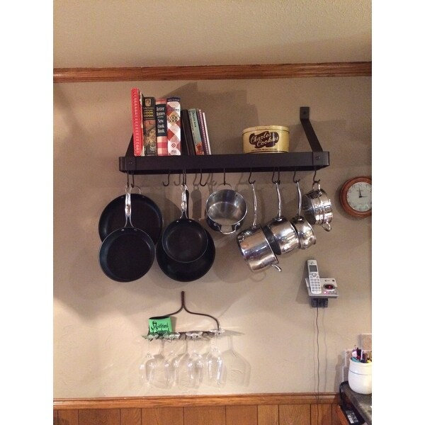 Shop Old Dutch Wall Mount Bookshelf Pot Rack With Grid 12 Hooks