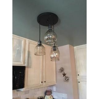 shop mariana antique black cognac glass 3 light cluster pendant