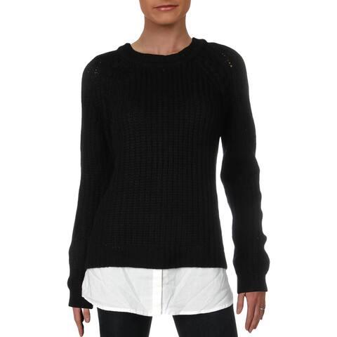 BB Dakota Womens Pullover Sweater Layered Look Ribbed - Black - M