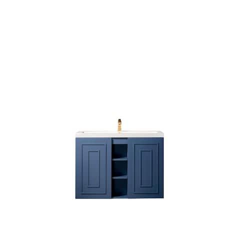 "Alicante' 39.5"" Single Vanity Cabinet, w/ White Glossy Resin Countertop"