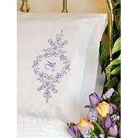 """Daisy Monogram - Stamped Embroidery Pillowcase Pair 20""""X30"""""""