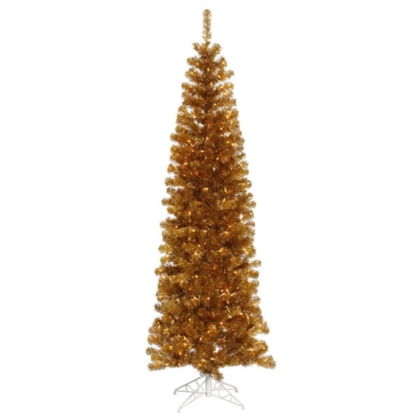 9' Pre-Lit Antique Gold Artificial Pencil Tinsel Christmas Tree – Clear Lights