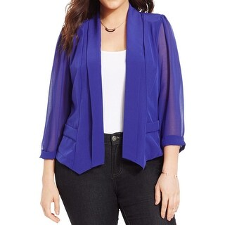 City Chic Womens Plus Boyfriend Blazer Chiffon Sheer Sleeves