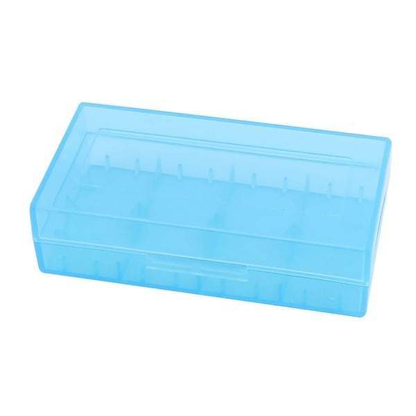 78mmx42mmx21mm Hard Plastic Battery Storage Case Holder Organizer Blue