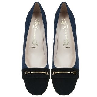 Bailarinas ALTEO MAR Navy/Black Flannel Chunky Heel Pump
