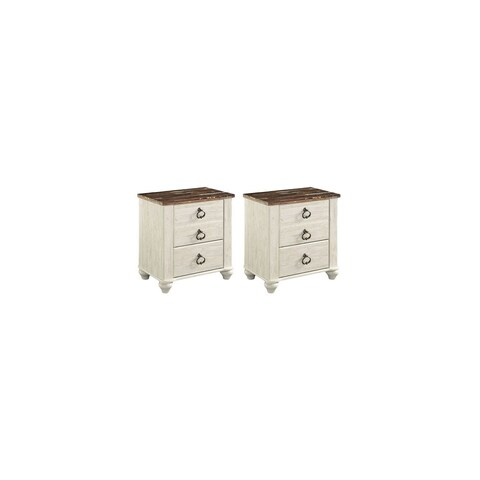 Ashley B267-92 Willowton Nightstand w/ Side Roller Glides (Set of 2)