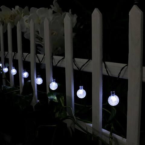 Sunnydaze 30-Count White Globe LED Solar-Powered String Lights - Set of 2
