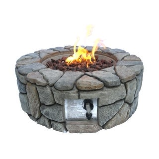 Peaktop - 28 Inch Outdoor Round Stone Propane Gas Fire Pit