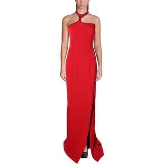 Jovani Embellished Halter Formal Dress