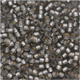 Toho Round Seed Beads 11/0 29AF 'Silver Lined Frosted Black Diamond' 8 Gram Tube