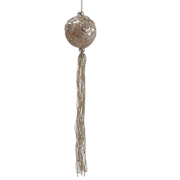 "12"" Seasons of Elegance Gold Glitter Christmas Ball Ornament with Tassels"