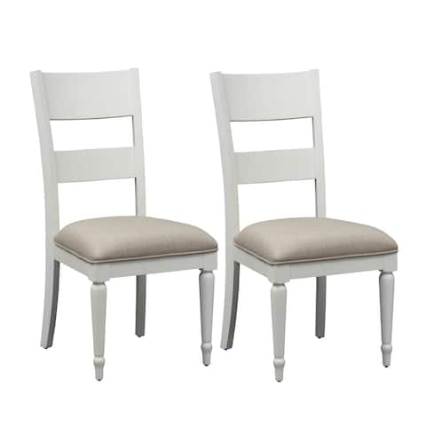 Cottage Harbor White Slat Back Linen Seat Dining Chair (Set of 2)